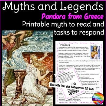Myth Legend Greek PANDORA'S BOX Text & Task Cards Connecti