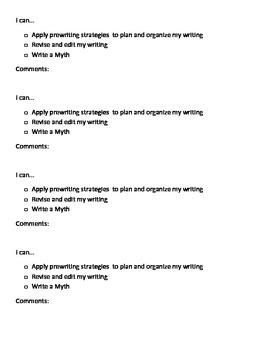 Myth Writing Checklist