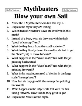 Mythbusters Blow your own Sail