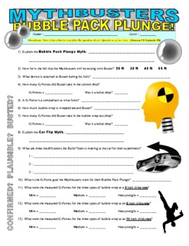 Mythbusters : Bubble Pack Plunge (video worksheet)