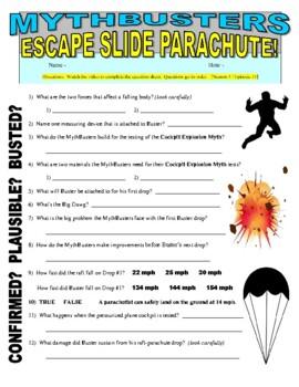 Mythbusters : Escape Slide Parachute (video worksheet)