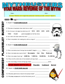 Mythbusters : Star Wars Myths (video worksheet)