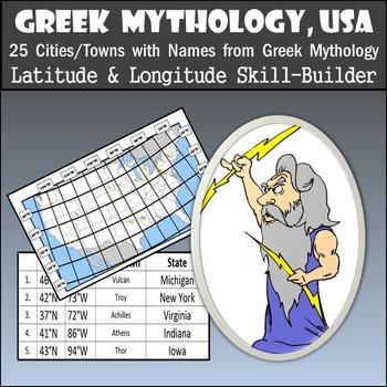 Latitude & Longitude Worksheet - Greek Mythology, USA