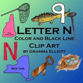 Letter N Clip Art - Phonics Beginning Letter N - Color and