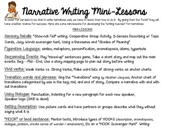 NARRATIVE WRITING mini-lesson ideas