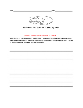 NATIONAL CAT DAY-OCTOBER 29TH!  A CREATIVE WRITING PROMPT