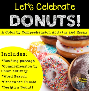 """Comprehension by Color- """"NATIONAL Donut Day"""" Activities fo"""