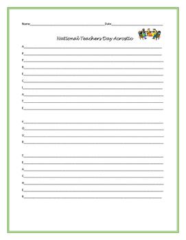 NATIONAL TEACHERS DAY ACROSTIC