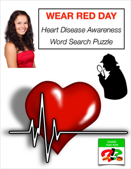 NATIONAL WEAR RED DAY Word Search Puzzle - Stroke, Heart,