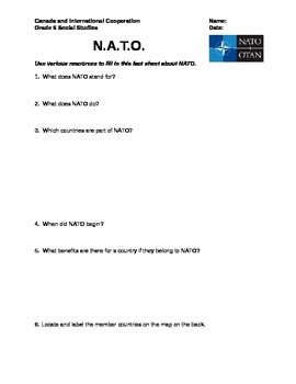 Grade 6 Social Studies: NATO Fact Finding Activity
