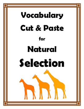 NATURAL SELECTION VOCABULARY CUT AND PASTE