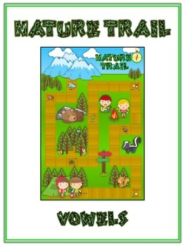 NATURE TRAIL Vowels- ELA First Grade Folder Game - Word Wo