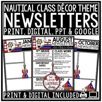 Editable Newsletter Templates - Nautical Theme Newsletter