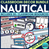 NAUTICAL THEME Classroom Decor - EDITABLE Clutter-Free Cla
