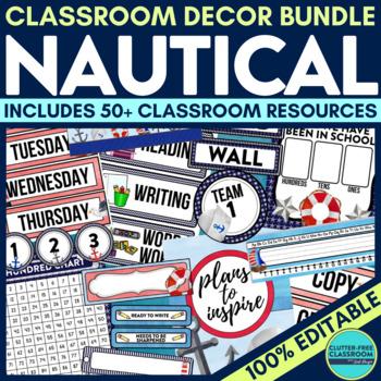 NAUTICAL THEME Classroom Decor - EDITABLE Clutter-Free Cla