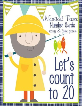 NAUTICAL lime - Number Line Banner, 0 to 20, Illustrated