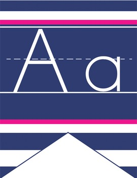 NAUTICAL pink - Alphabet Flag Banner, handwriting, A to Z,