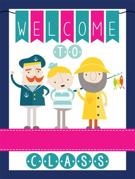 NAUTICAL pink - Classroom Decor: WELCOME Poster - 18 x 24,