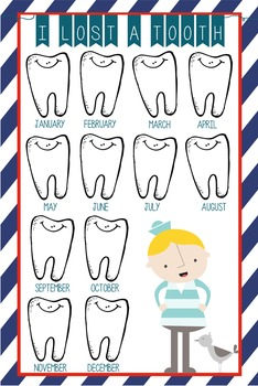 NAUTICAL red - Classroom Decor: I lost a TOOTH - size 24 x 36