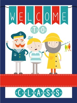 NAUTICAL red - Classroom Decor: WELCOME Poster - 18 x 24,