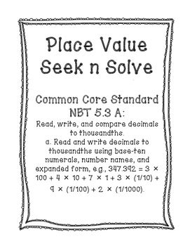 NBT 5.3A Decimal Place Value Seek n Solve