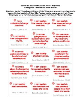 """NC Essential Standards """"I Can"""" Task Cards - Kindergarten"""