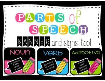 NEON Parts of Speech Bulletin Board