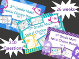 NEW! 5th Grade Math Spiral Choice Boards Bundle 3 Sets Ove