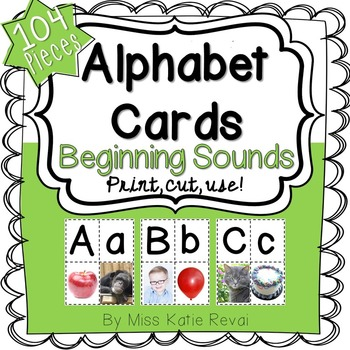 Back to School: Beginning Sounds Alphabet Cards with REAL Photos