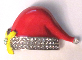 CHRISTMAS SANTA HAT BROOCH HOLIDAY PIN festive yellow poinsettia
