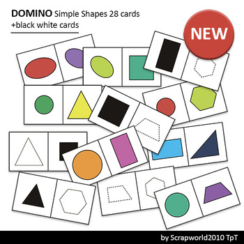 Activities Domino Simple Shape, 28 cards+28 Black White ca