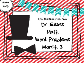 NEW  Dr. Seuss Math Word Problems MARCH 2 Perfect for 4th-