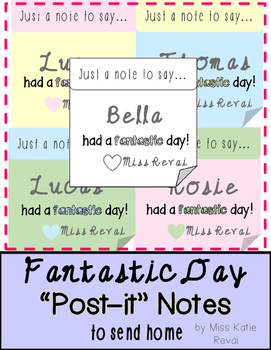 Positive Notes to Send Home: Fantastic Day in Pastel + Bla