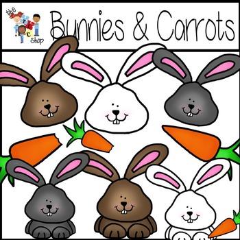 Bunnies and Carrots Clipart Set