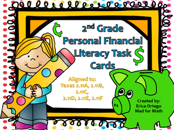 NEW Second Grade Personal Finance Task Cards 2.11A 2.11B 2