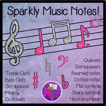Sparkly glitter music notes clip art