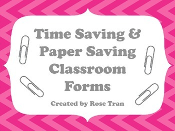 NEW  Time Saving & Paper Saving Classroom Forms  GET ORGANIZED!