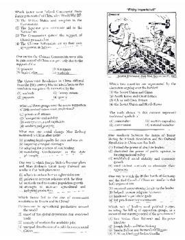 Global History Multiple Choice Quiz Unit 33/40 - REGENTS ALIGNED