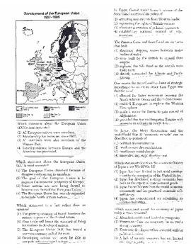Global History Multiple Choice Quiz Unit 37/40 - REGENTS ALIGNED