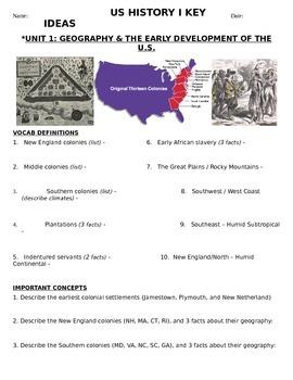US History 11th grade (1st Sem) Reading Guide Units 1-10 -