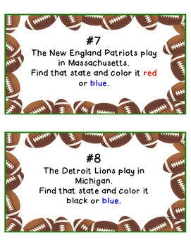 NFL Map Skills - United States Map