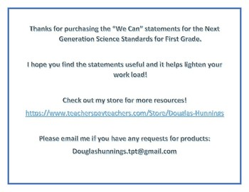 """NGSS 1st Grade """"We Can"""" Statements"""