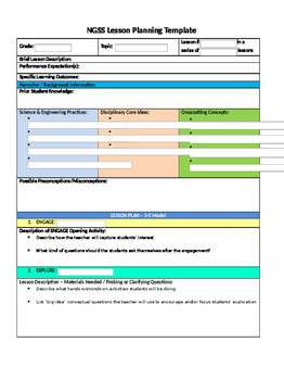 NGSS 5 E Interactive Lesson Plan Template (Microsoft Word
