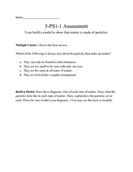 NGSS: 5-PS1-1 Assessment or Matter Activity