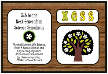 """NGSS 5th Grade Standards """"I can"""" poster, practices, and ch"""