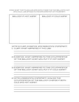 NGSS Claim, Evidence, and Reasoning Sheet for use with the