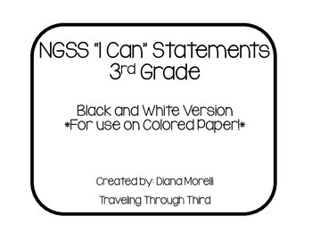 NGSS I Can Statements 3rd Grade Black and White Version
