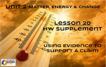 NGSS/STEM Lesson 20 HW Supplement-Using Evidence To Suppor