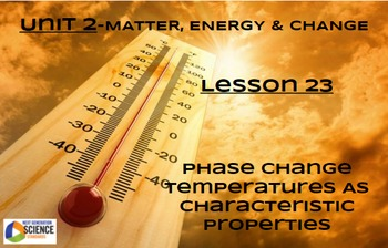 NGSS/STEM Lesson 23 Phase Change Temperatures as Character