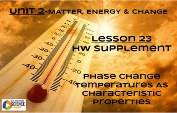 NGSS/STEM Lesson 23 Supplement-Phase Change Temps as Chara